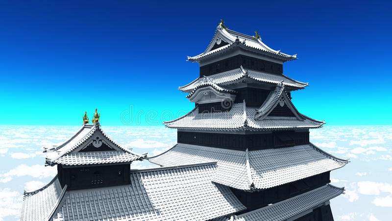 Download Japanese castle stock illustration. Image of outer, wall - 22499765