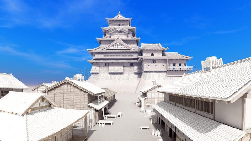 Download Japanese castle stock illustration. Image of tiled, history - 22576689