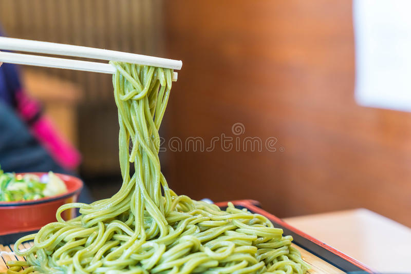Japanese Cha Soba (Green tea Soba) in dish royalty free stock photos