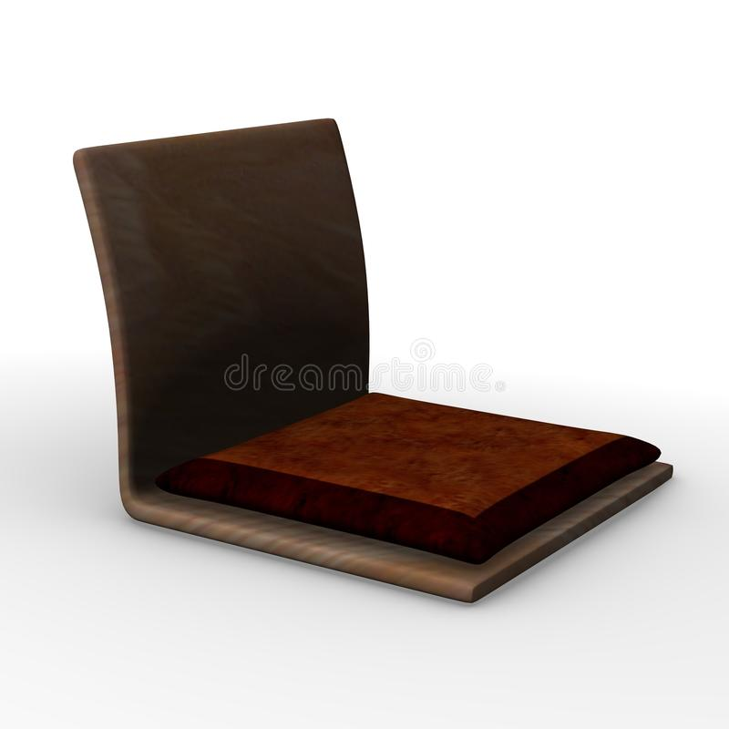 Japanese chair. 3d render of japanese chair royalty free illustration