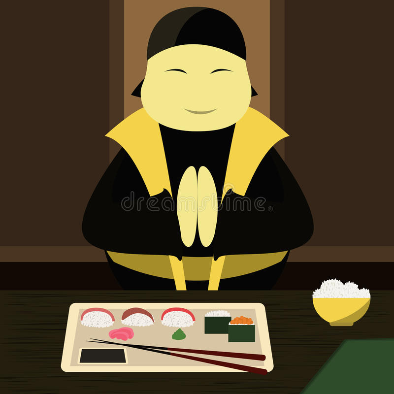 Japanese chef makes sushi. Vector illustration royalty free illustration