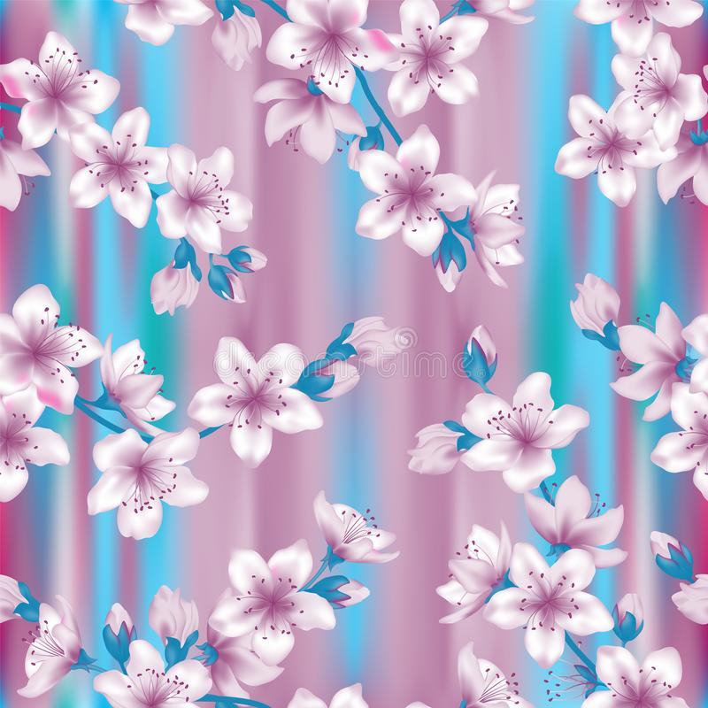 Japanese cherry blossom sakura branches vector seamless pattern. vector illustration
