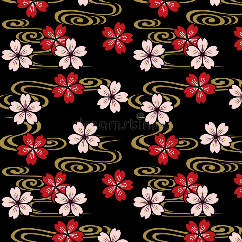 Japanese cherry blossoms and stream pattern stock illustration