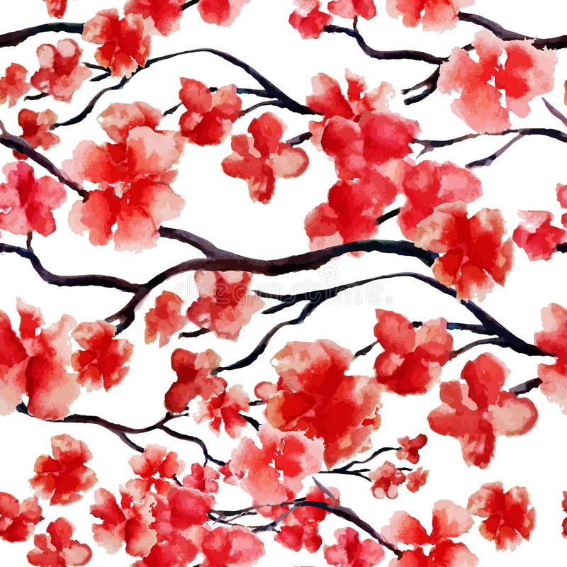 Free Japanese Cherry Branch Spring Blossom, Red Sakura Tree Seamless Watercolor Pattern. Vector Illustration, Ready For Print Royalty Free Stock Images - 87338819