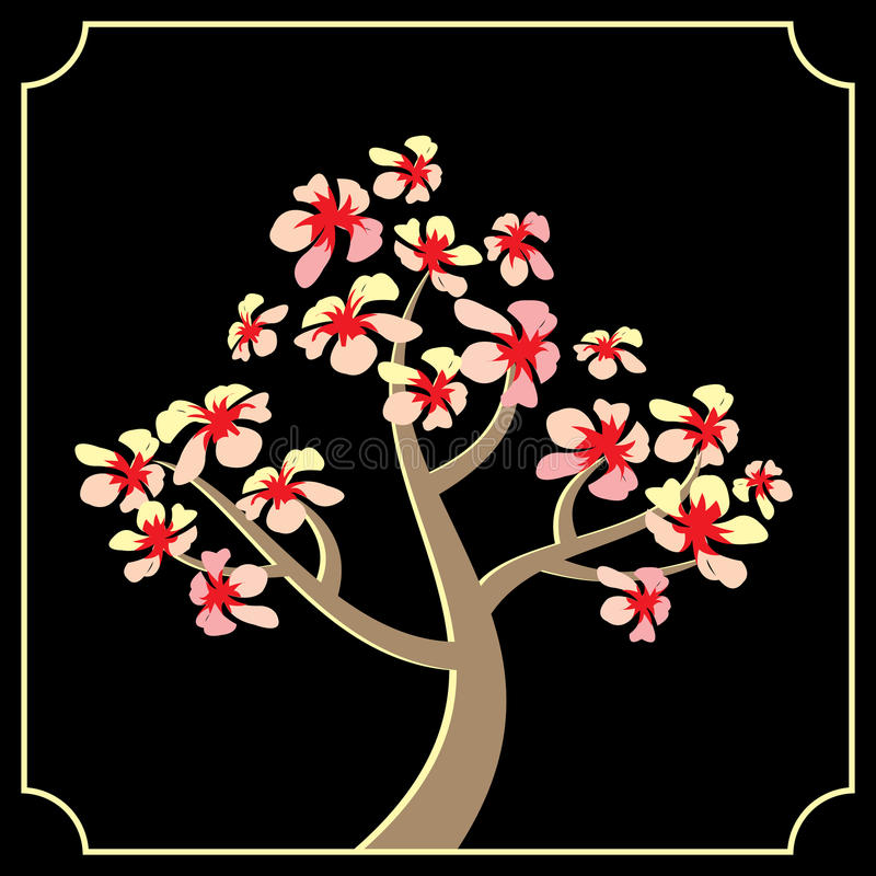 Download Japanese cherry tree stock vector. Image of graphic, blooming - 29005019