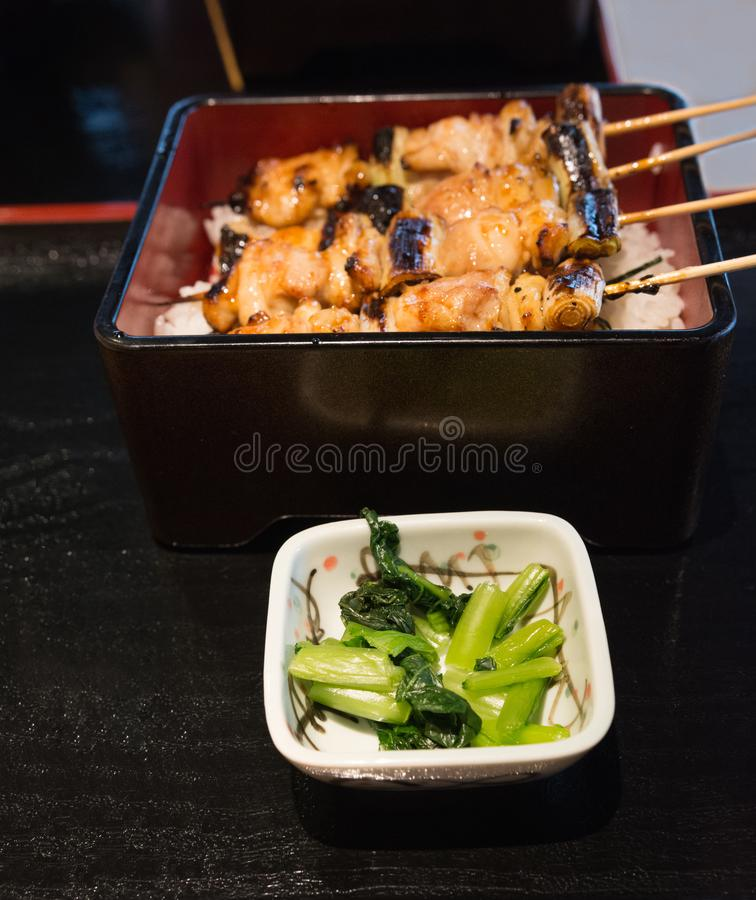 Japanese chicken grill Yakitori set with ingredient in dark tone royalty free stock photo