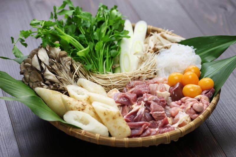 Japanese chicken hot pot cuisine. Kritanpo nabe with hinaizidori royalty free stock photography