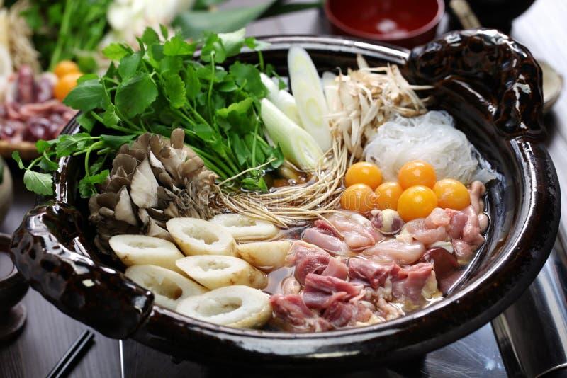 Japanese chicken hot pot cuisine. Kritanpo nabe with hinaizidori stock photography