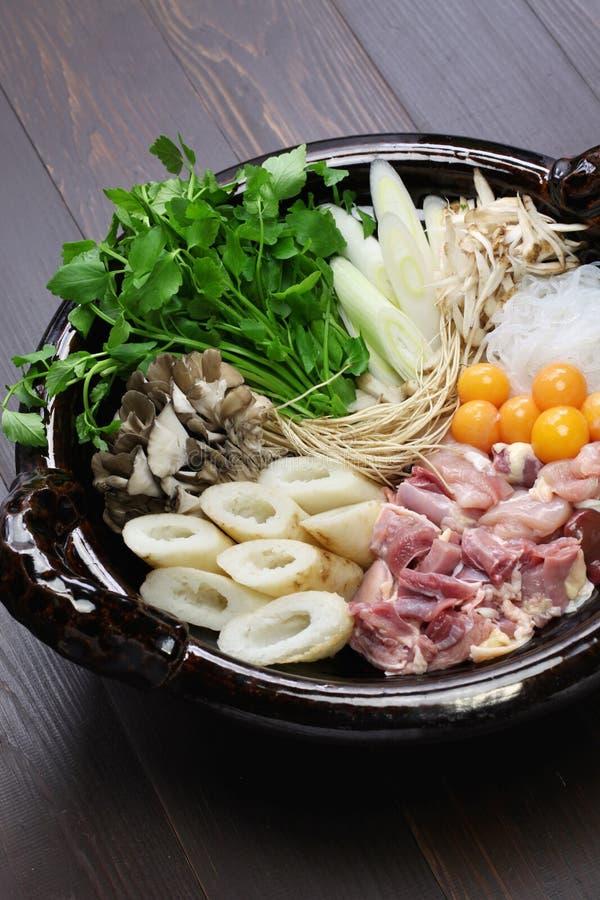 Japanese chicken hot pot cuisine. Kritanpo nabe with hinaizidori royalty free stock images