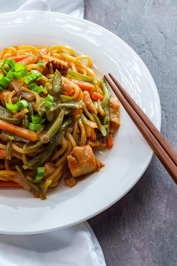 Japanese Chicken Yakisoba Noodles stock image