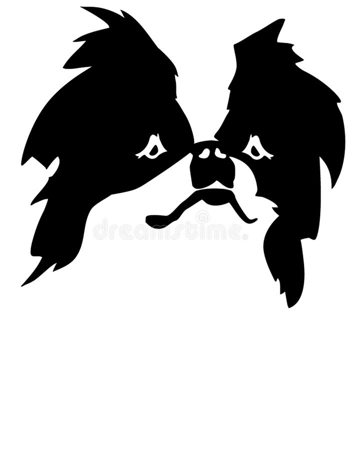 Japanese Chin head. With silhouette vector illustration