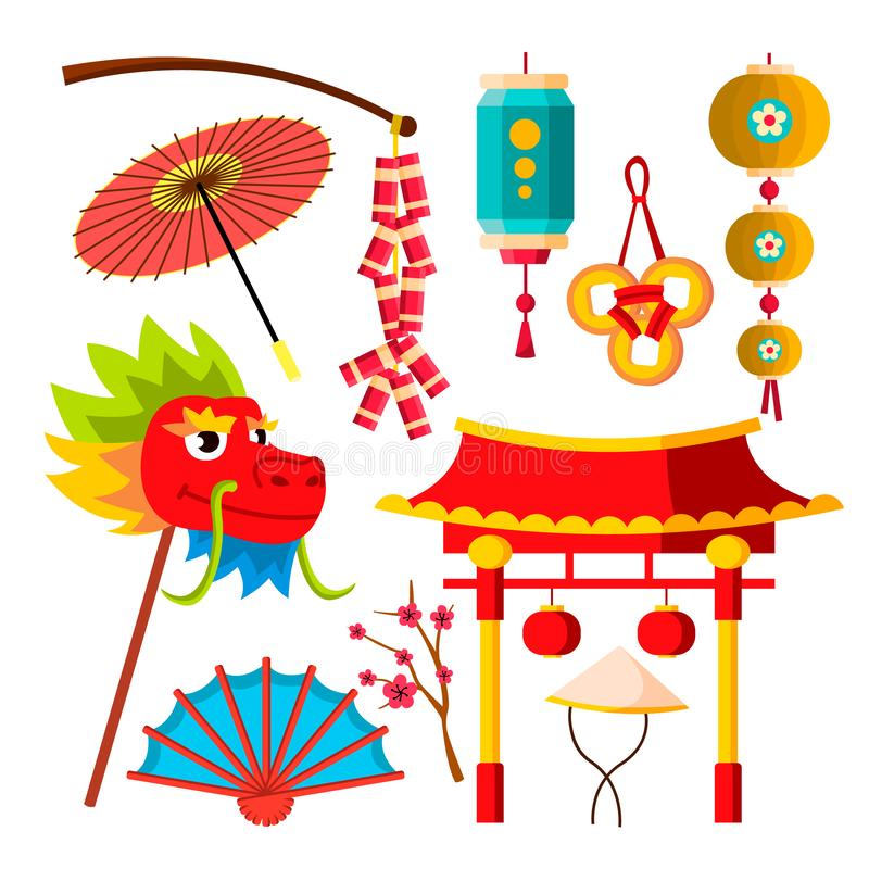 Japanese, Chinese Icons Vector. Sakura, Dragon, Flashlights, Symbols, Fan, Umbrella. Isolated Flat Cartoon Illustration royalty free illustration