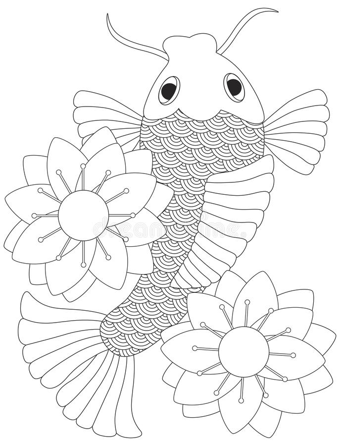 Line Drawing Koi Fish : Japanese or chinese koi fish line art stock vector