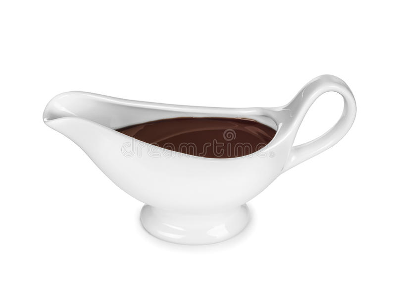 Japanese or Chinese Soy Sauce in Suace-boat. Isolated over White vector illustration