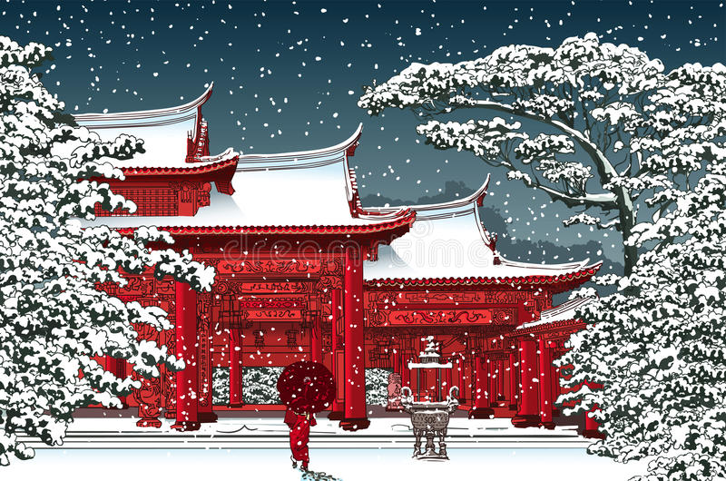 Japanese or chinese temple under snow. Vector illustration stock illustration