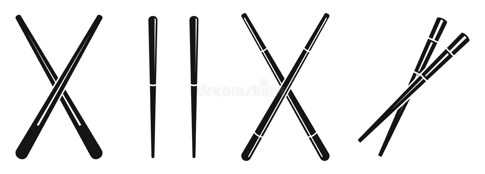 Japanese chopsticks icons set, simple style. Japanese chopsticks icons set. Simple set of japanese chopsticks vector icons for web design on white background stock illustration