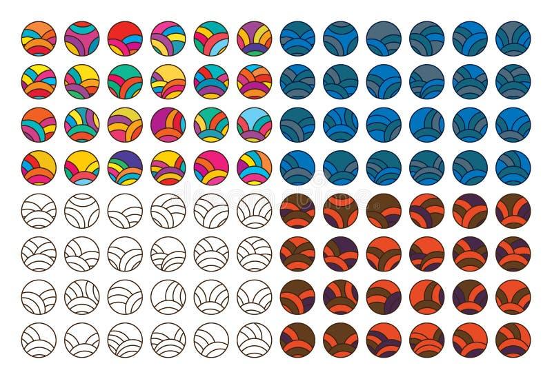 Japanese circle line set vector illustration