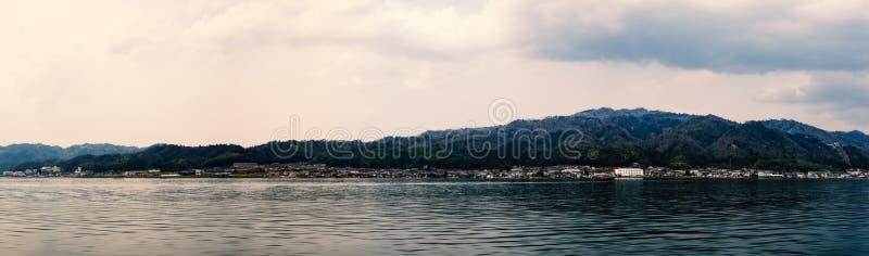 Japanese coastal village. Panorama view of Japanese coastal village stock images