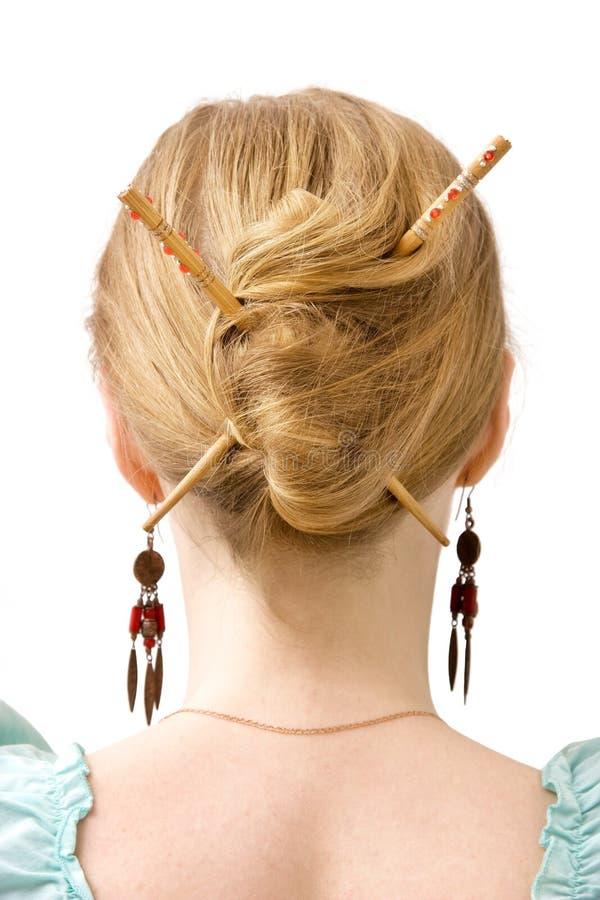 Japanese coiffure royalty free stock photo