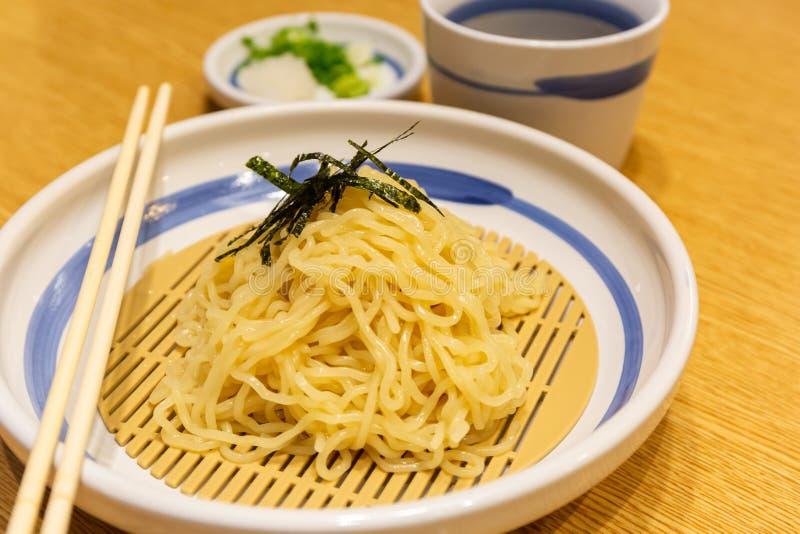 Japanese cold ramen noodles or Zaru ramen stock photography