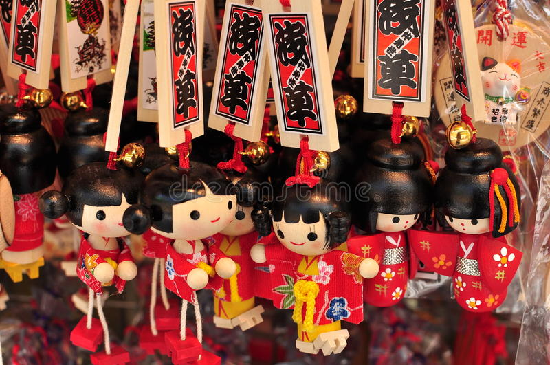 Japanese Coloured Keychain Souvenier. Colourful keychain which resemble the japanese doll are one of the souvinier that tourist buy while visiting japan stock photos