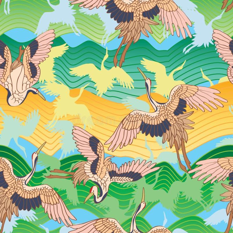 Japanese crane green mountain seamless pattern stock illustration
