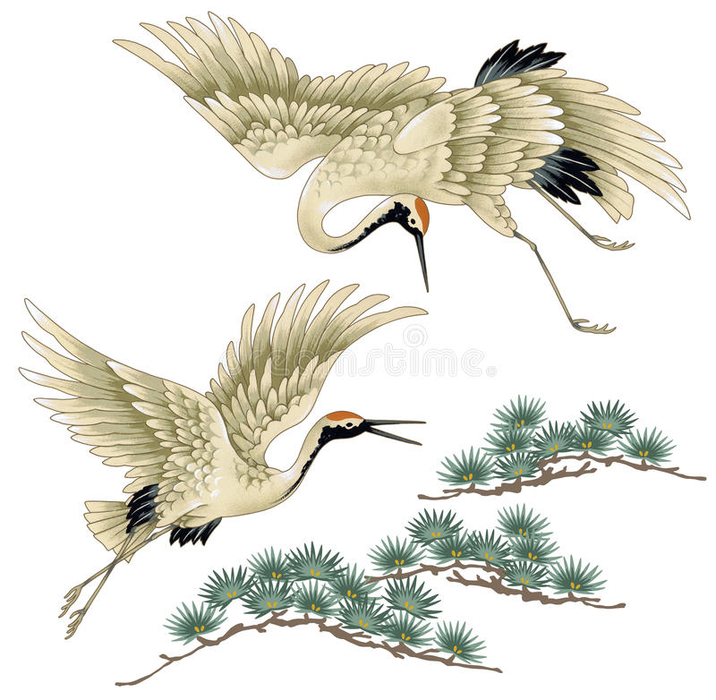 Japanese crane stock illustration. Image of painting ... - photo#10
