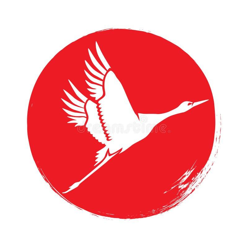 Japanese crane silhouette. Vector. stock illustration
