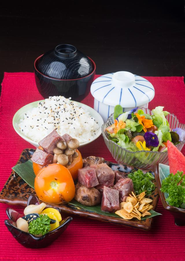 japanese cuisine. beef cube on the background stock image
