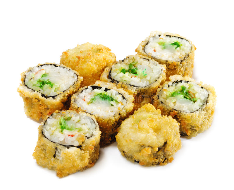 Japanese Cuisine - Deep-fried Sushi Roll. With Greens stock photography