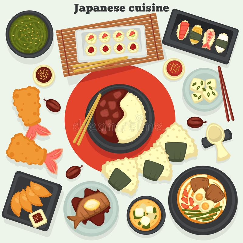 Japanese cuisine dishes and meals oriental food and seafood stock illustration