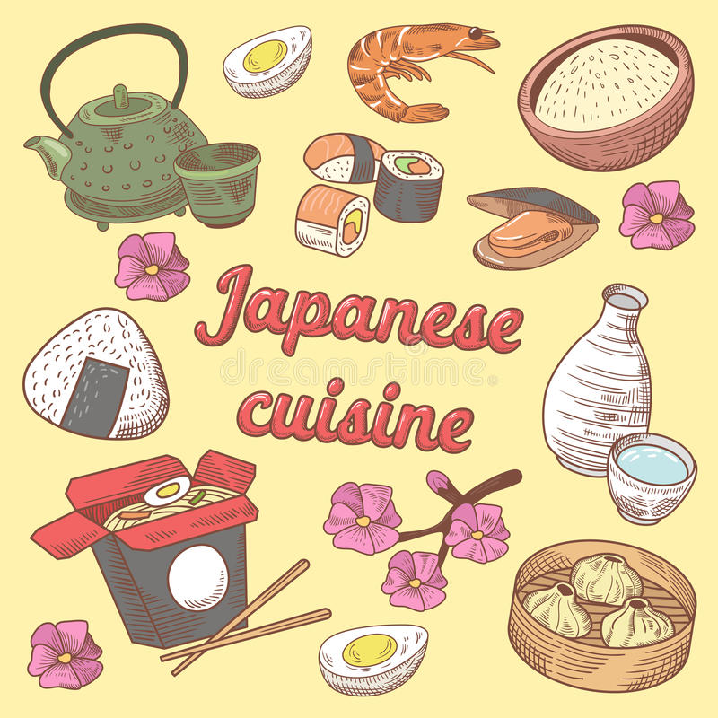 Japanese Cuisine Food with Sushi. Hand Drawn doodle. Japanese Cuisine Food with Sushi. Hand Drawn vector doodle stock illustration