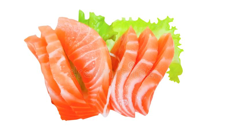 Japanese cuisine, Fresh Salmon sashimi with green salad isolated on white background with clipping path stock photo