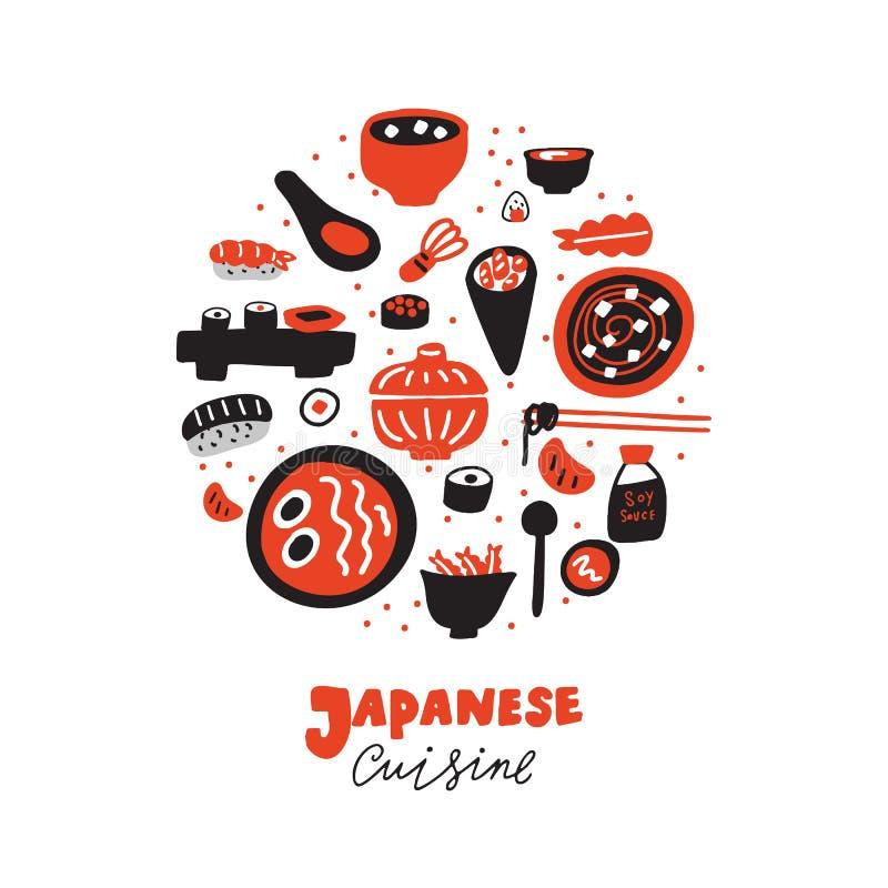 Japanese cuisine. Hand drawn illustration in circle, isolated on white background. Restaurant promorion. Vector. stock illustration