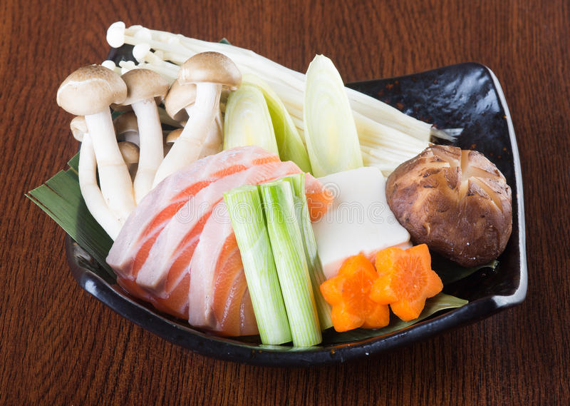 Japanese cuisine. hot pot on the background stock photography