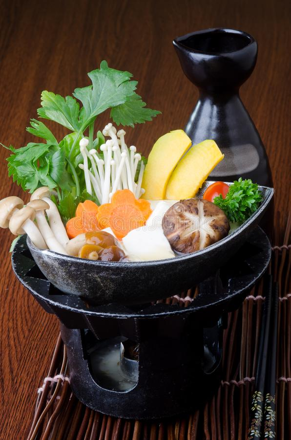 japanese cuisine. hot pot on the background royalty free stock images