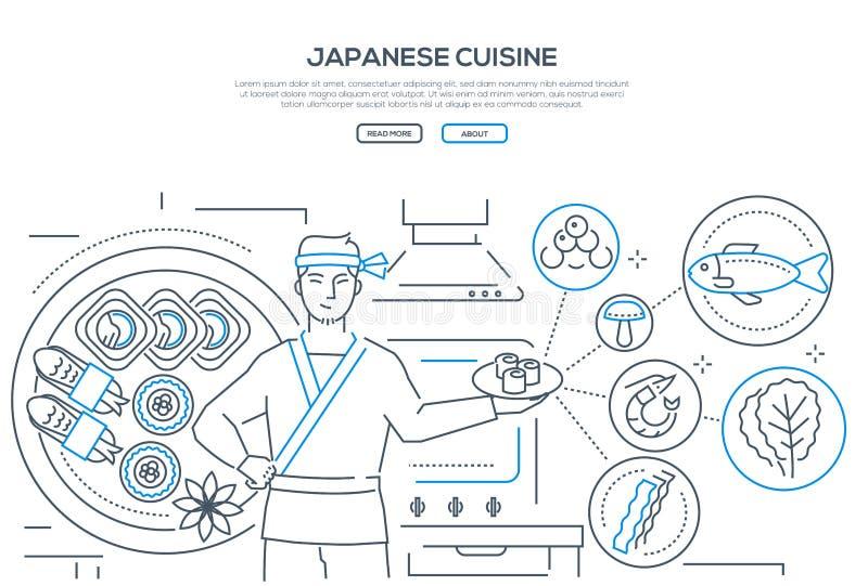 Japanese cuisine - thin line design style banner stock illustration