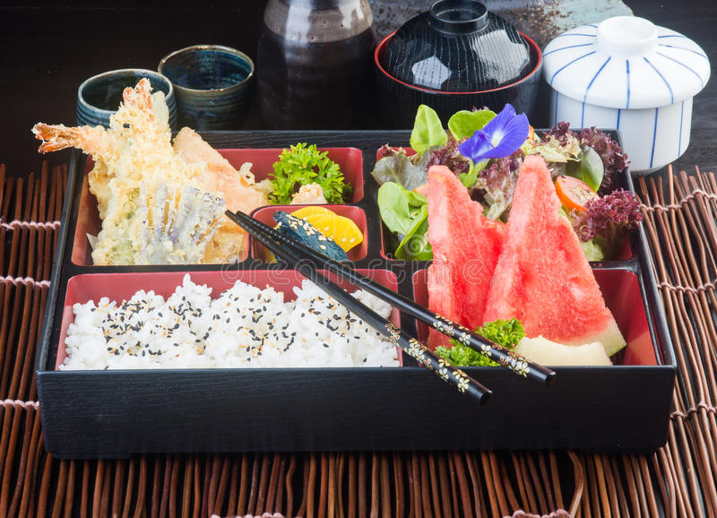 Japanese cuisine. lunch box set on the background stock photo
