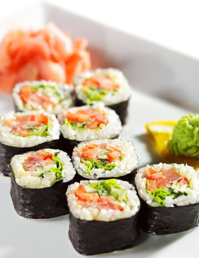 Japanese Cuisine - Maki Sushi. Japanese Cuisine - Fresh Vegetarian Maki Sushi royalty free stock photo