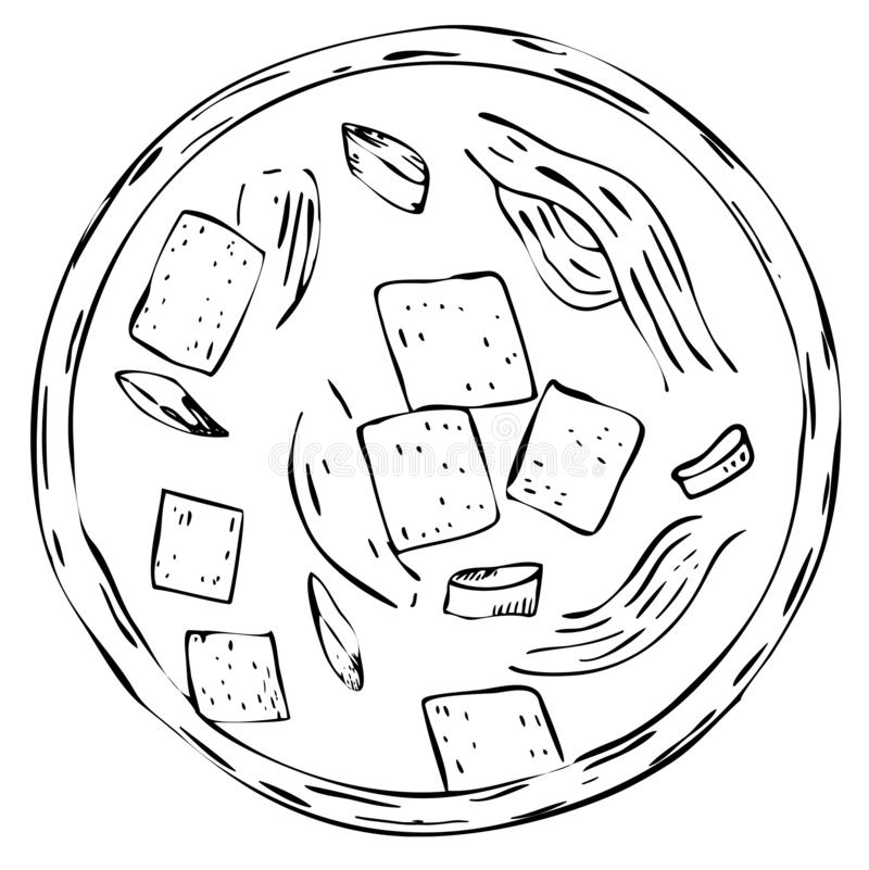 Japanese cuisine: miso soup vector illustration