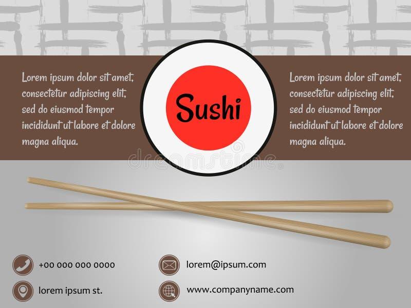 Japanese cuisine restaurant sushi menu cover template royalty free illustration