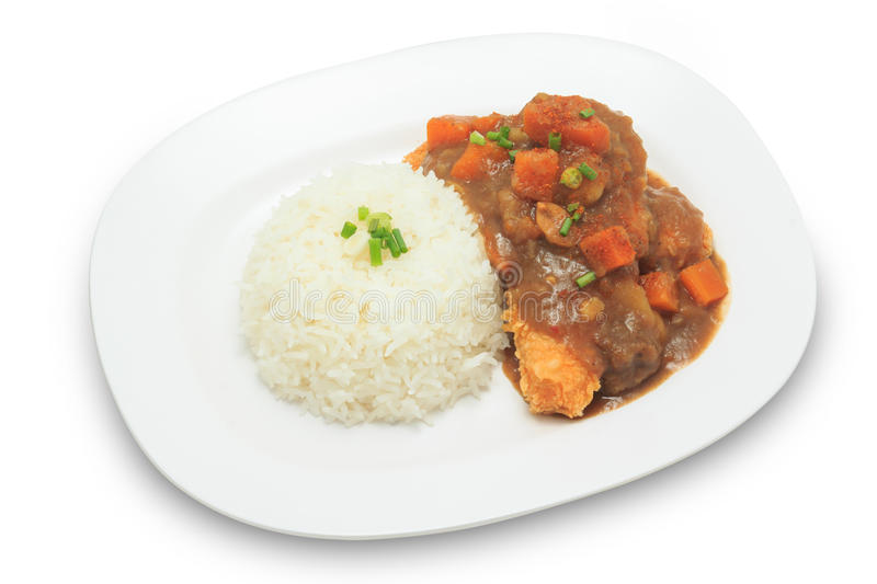 Japanese cuisine rice with deep fried chicken and curry sauce with potatoes and carrots royalty free stock photos