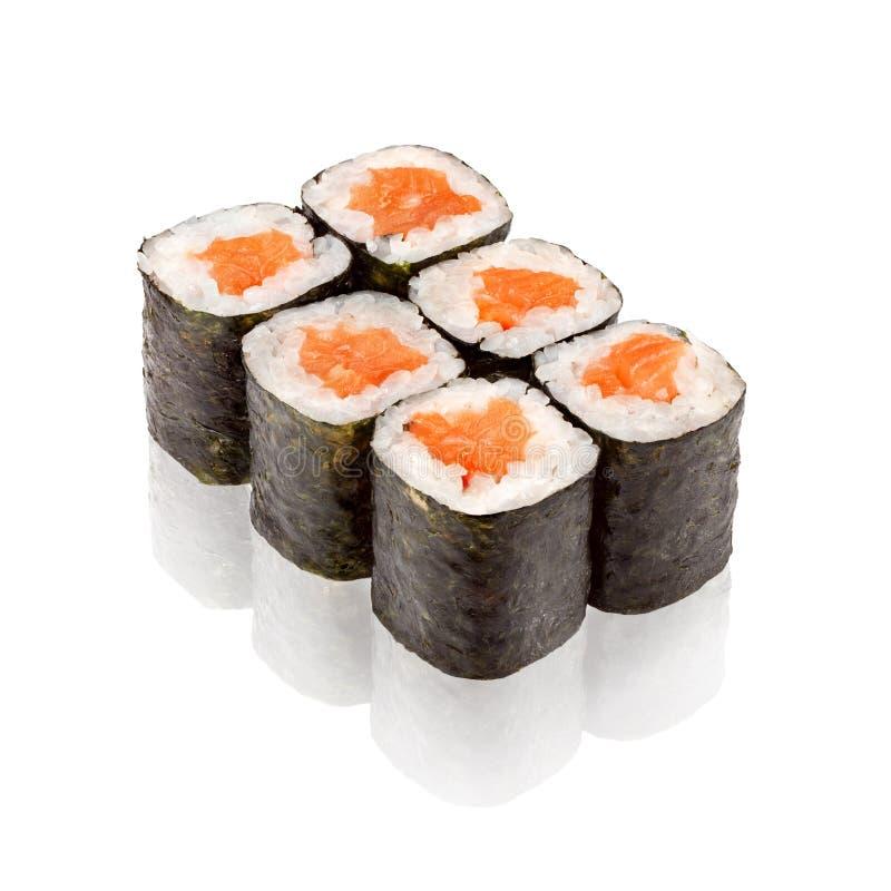 Japanese cuisine. Salmon Maki sushi. On white background stock photo