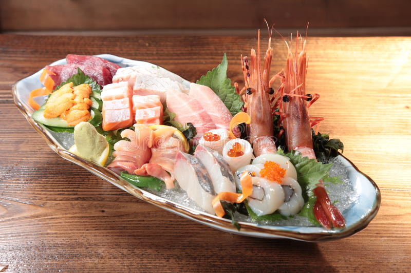 Japanese cuisine of sashimi stock image