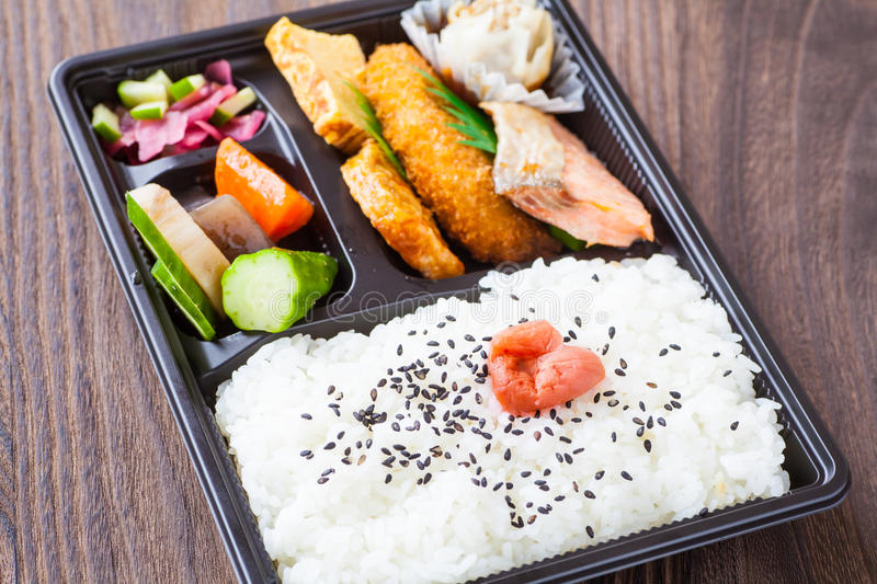 Japanese cuisine a single-portion takeout. Traditional bento japanese cuisine a single-portion takeout or home-packed meal stock images
