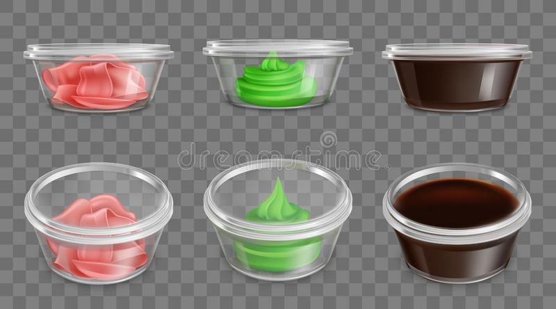 Japanese cuisine spices, sauces packaging vector stock illustration