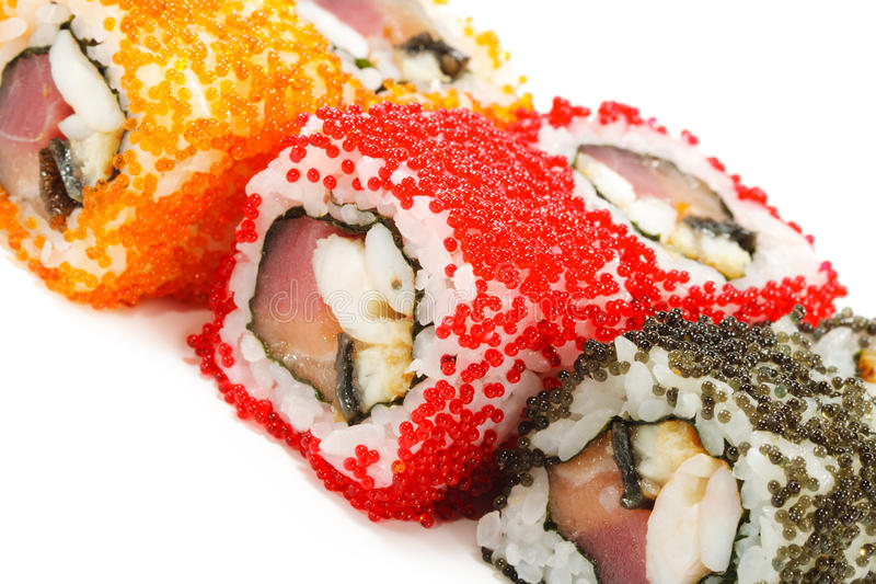 Japanese Cuisine - Sushi. Roll with Tuna, Salmon, Conger and Flying Fish Roe stock photography
