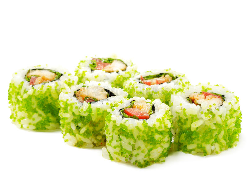 Japanese Cuisine - Sushi. Roll with Sea Bass, Tomato and Green Flying Fish Roe royalty free stock images