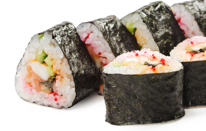 Japanese Cuisine - Sushi. Roll with Salmon, Shrimps and Conger and Cucumber royalty free stock photos