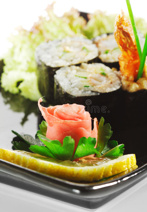 Japanese Cuisine - Sushi. With Shrimp and Lettuce stock image